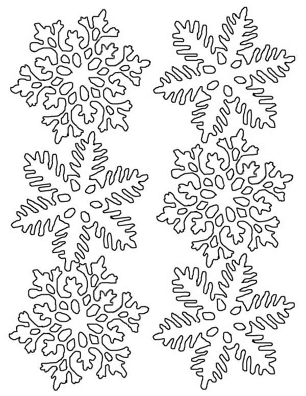 Snowflakes, : Flower Snowflakes Coloring Page