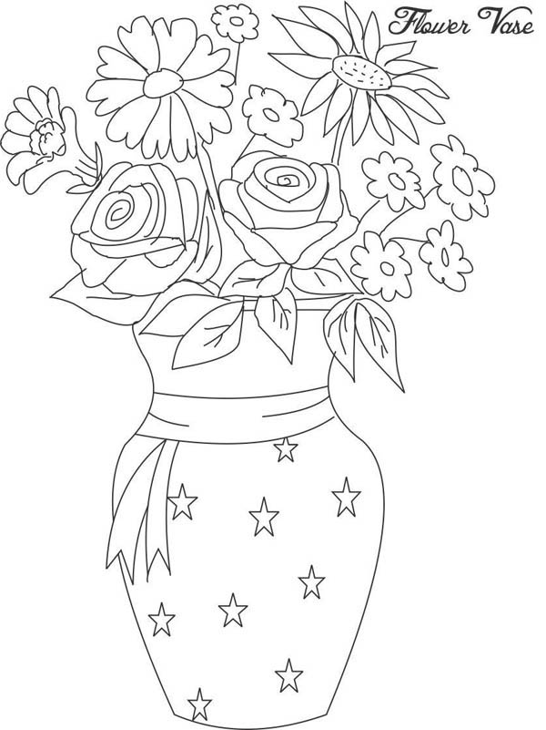 flower vase coloring page. Flower Bouquet  in Vase from Beautiful Coloring Page Color