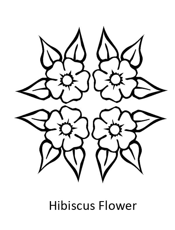 Hibiscus Flower, : Four Beautiful Hibiscus Flower Coloring Page