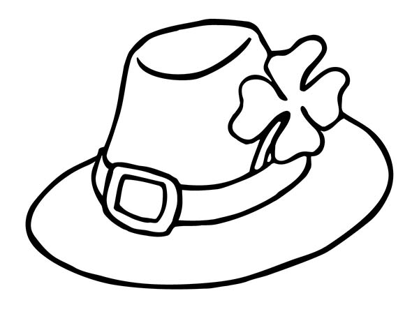 Four-Leaf Clover, : Four-Leaf Clover in an Irish Hat Coloring Page