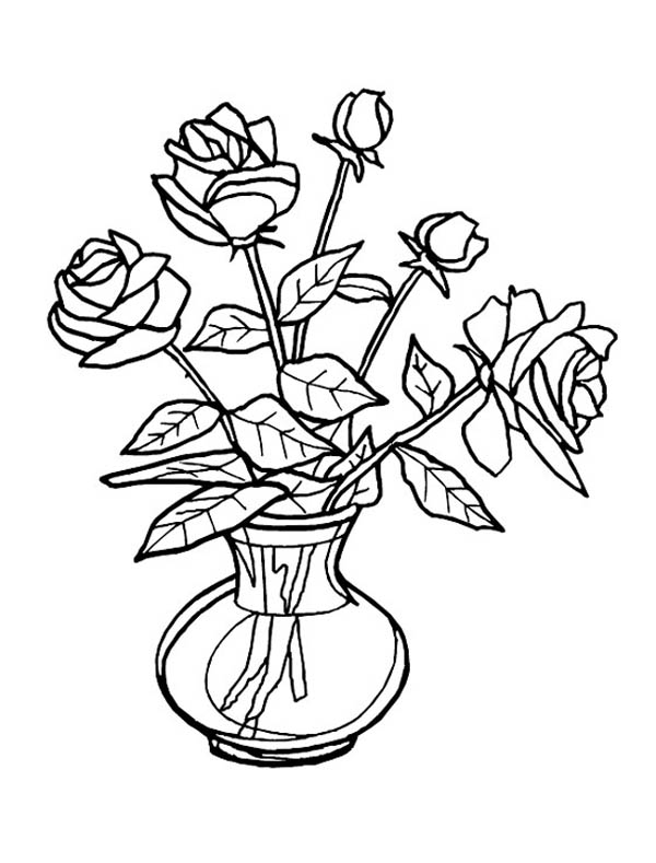 Flower Bouquet, : Fresh Roses for Flower Bouquet Coloring Page