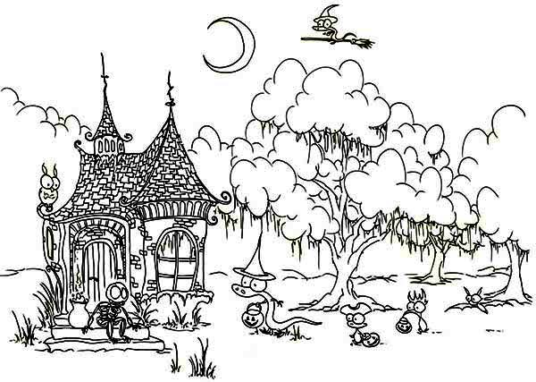 House, : Ghost Meeting House in Houses Coloring Page
