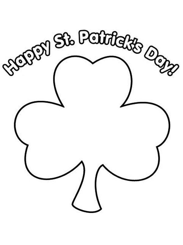 St Patricks Day, : Greeting St Patricks Day with a Shamrock Coloring Page