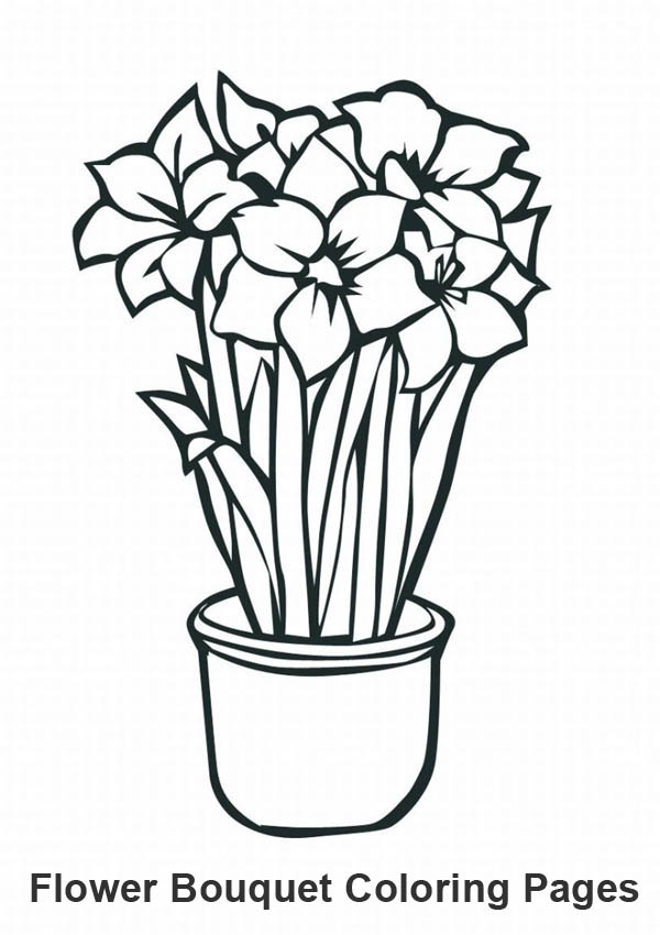 Growing Flower for Flower Bouquet Coloring Page | Color Luna