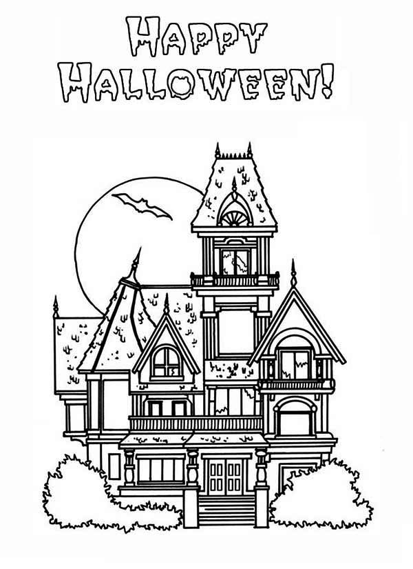 Halloween haunted house in houses coloring page color luna for Coloring pages of haunted houses