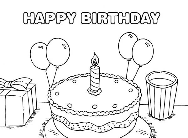 Happy Birthday, : Happy Birthday Cake with Baloon on its Side Coloring Page