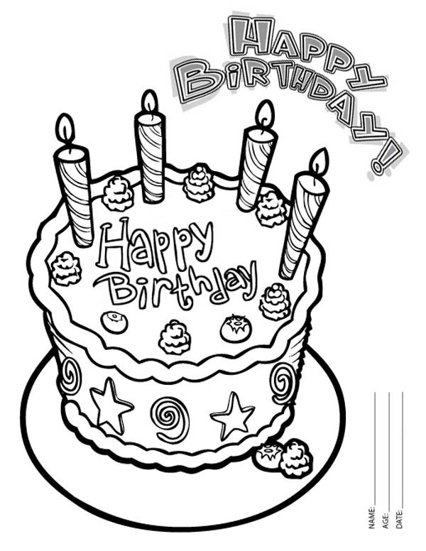 Happy Birthday Cake with Four Candles Coloring Page Color Luna