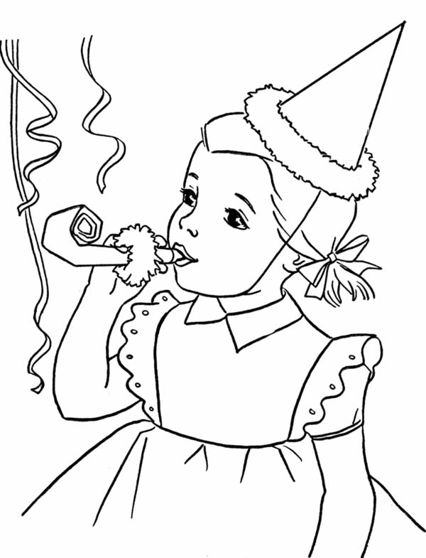 Happy Birthday, : Happy Birthday Girl Blowing a Horn Coloring Page