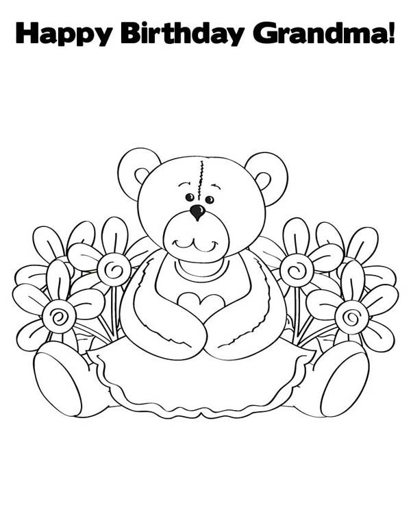 Happy Birthday, : Happy Birthday Grandma Coloring Page