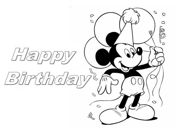 happy birthday mickey mouse coloring page - Mickey Mouse Birthday Color Pages