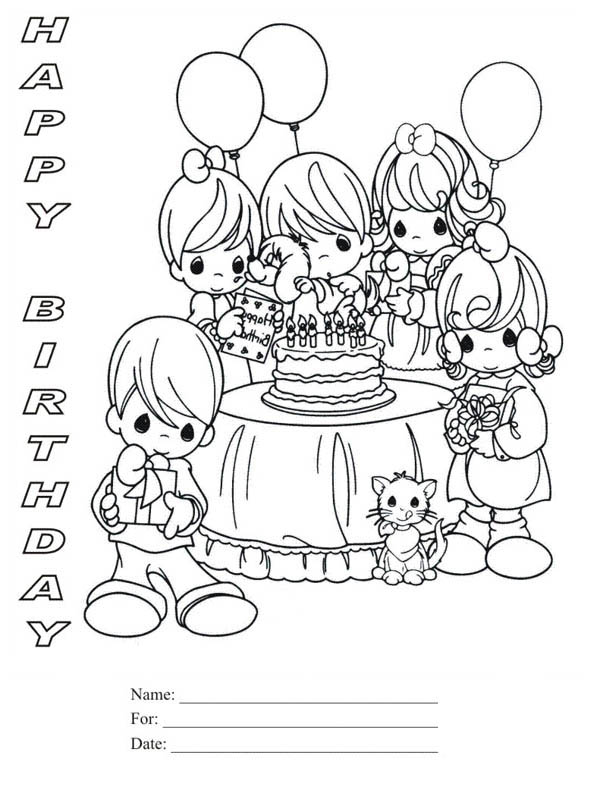 Happy Birthday, : Happy Birthday Party Coloring Page