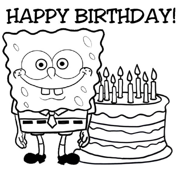 Happy Birthday Sponge Bob and Cake Coloring Page Color Luna