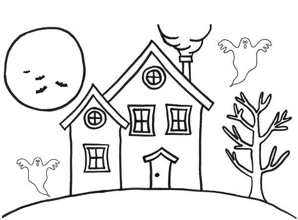 House, : Haunted Houses in the Night Coloring Page