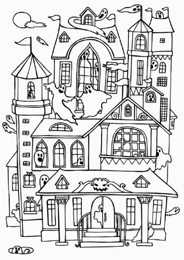 Haunted House Coloring Pages Pleasing Haunted Houses With Many Ghost Coloring Page  Color Luna Inspiration