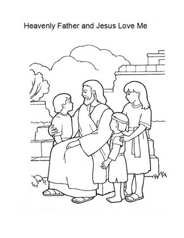 Heavenly Father and Jesus Love Me Coloring Page Color Luna