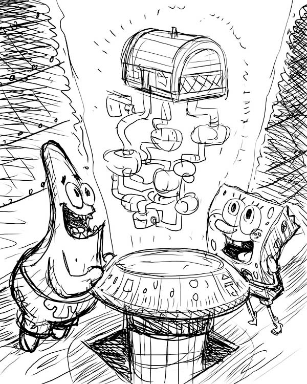 Krusty Krab, : Holigraphic of Krusty Krab Coloring Page