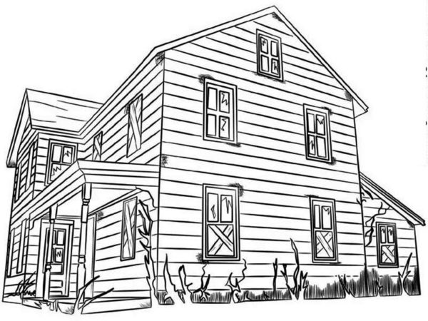Big Family Houses Coloring Page Free Printable White