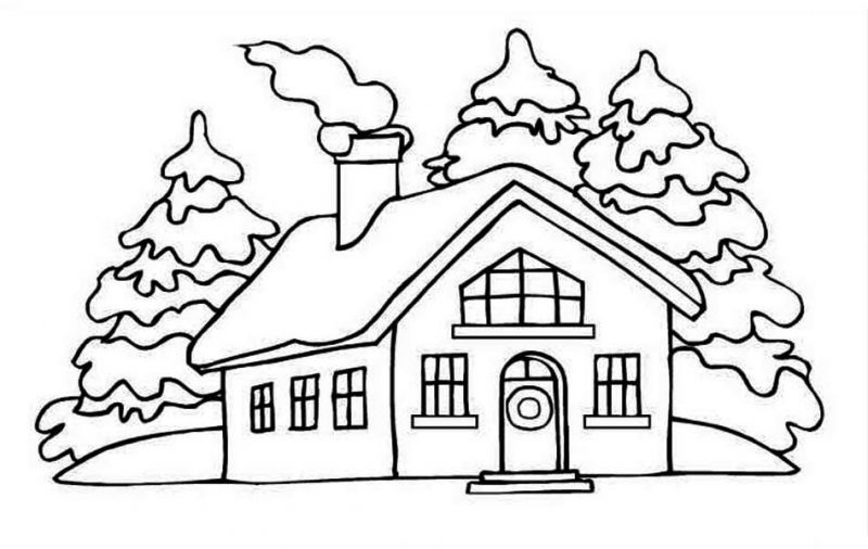 House Picture On Winter In Houses Coloring Page House