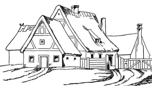 House, : House with Big Barn in Houses Coloring Page