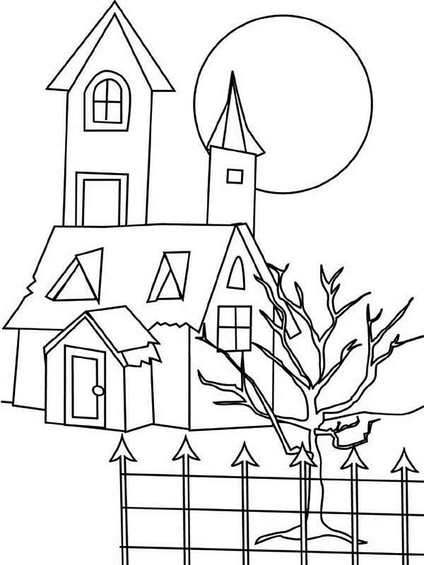 House, : House with Dead Tree in Houses Coloring Page