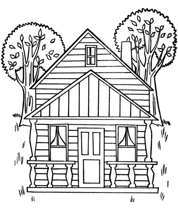 House, : Houses with Two Big Trees Coloring Page