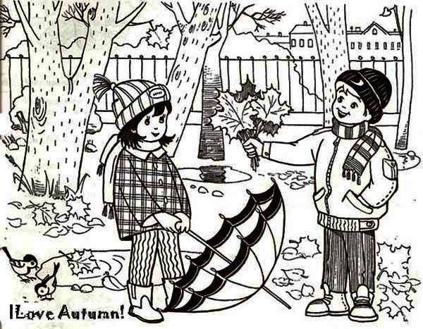Fall Leaf, : I Love Autumn in Fall Leaf Coloring Page