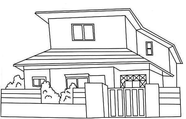 japan common houses coloring page