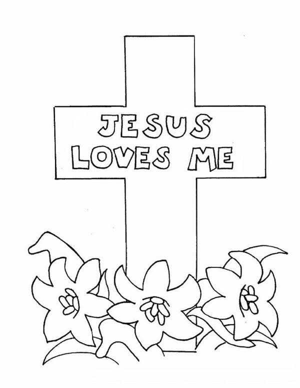 Jesus Loves Me, : Jesus Love Me Cross Coloring Page