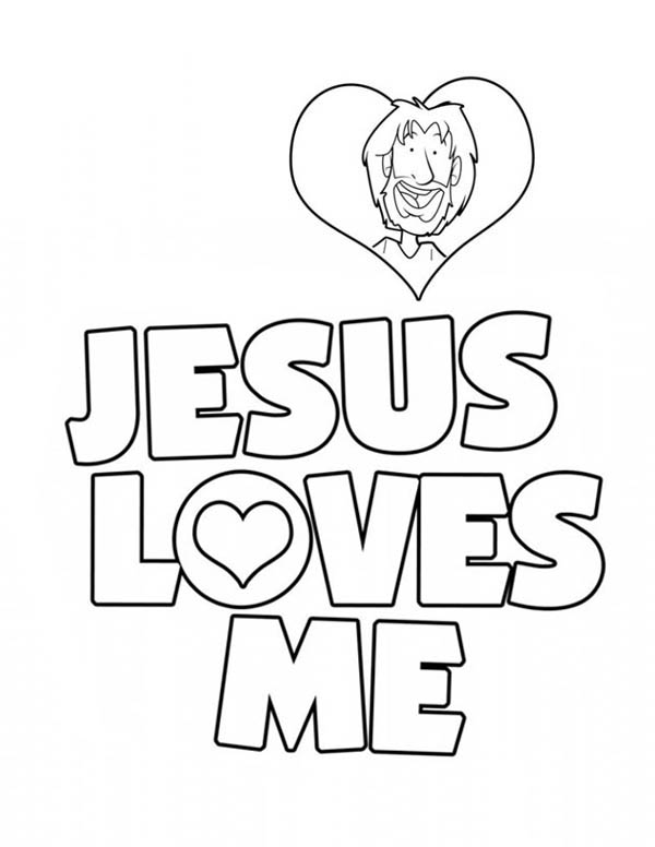 Jesus Love Me Sticker Coloring Page | Color Luna