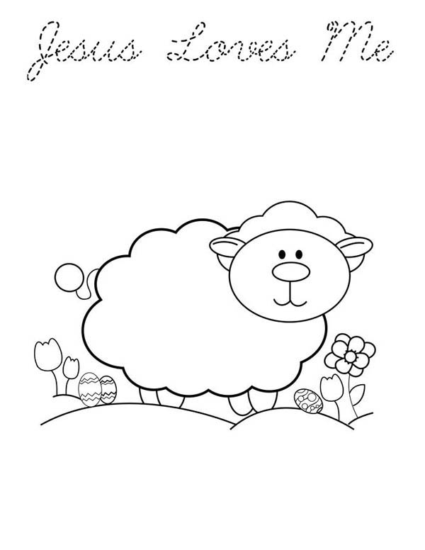 Jesus Loves Me, : Jesus Love Me and Animals too Coloring Page