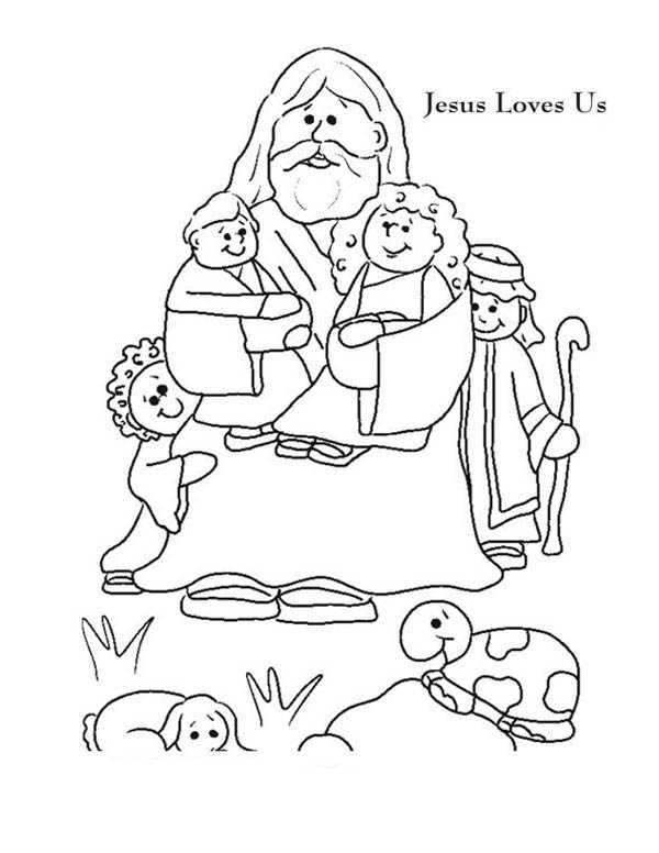 Coloring Pages Jesus Loves You. Jesus Love Me And Us Picture Colorig Page Coloring and  Color Luna