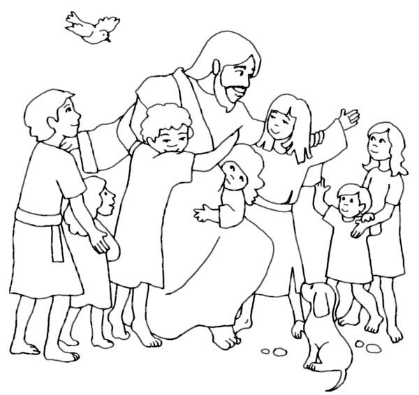 Jesus Loves Children And Jesus Love Me Coloring Page Jesus And Children Coloring Page