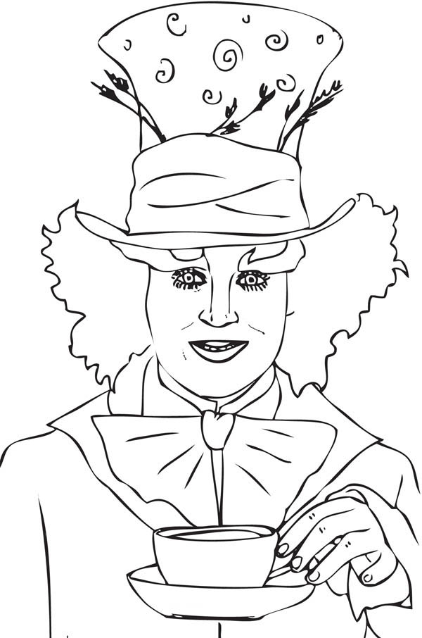 Mad Hatter, : Johnny Deep Mad Hatter Coloring Page