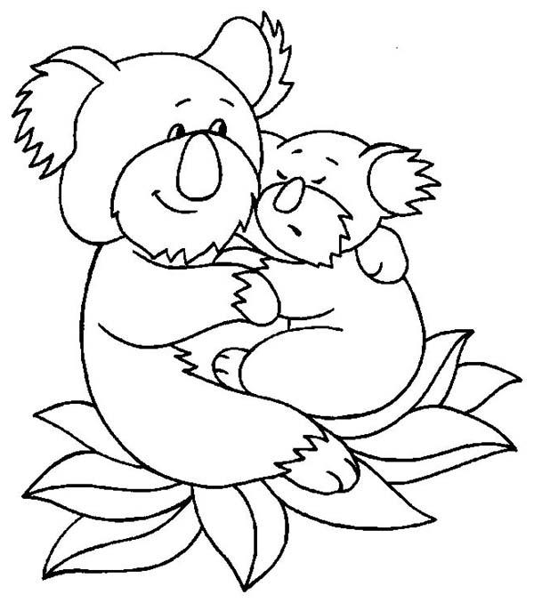 Koala Bear, : Koala Bear Hug Her Baby Coloring Page