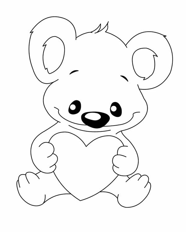 Koala Bear, : Koala Bear with Love Coloring Page
