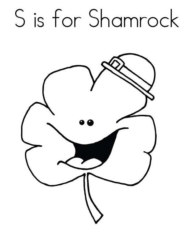 Four-Leaf Clover, : Letter is for Shamrock in Four-Leaf Clover Coloring Page