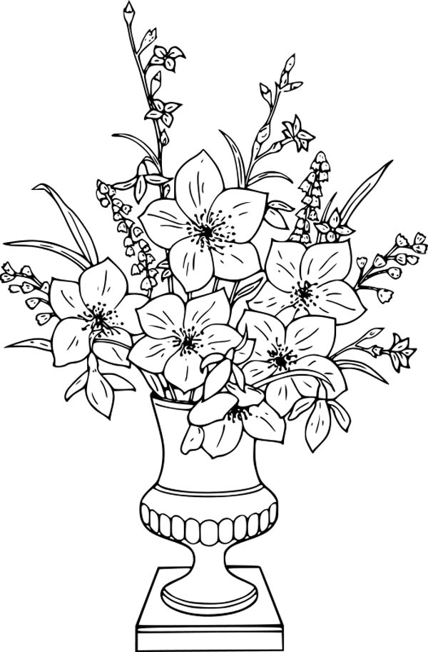 Flower Bouquet Lily In Vase Coloring Page