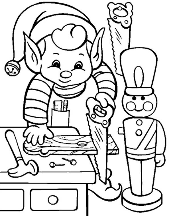 Elf, : Little Elf Make Some Toys Coloring Page