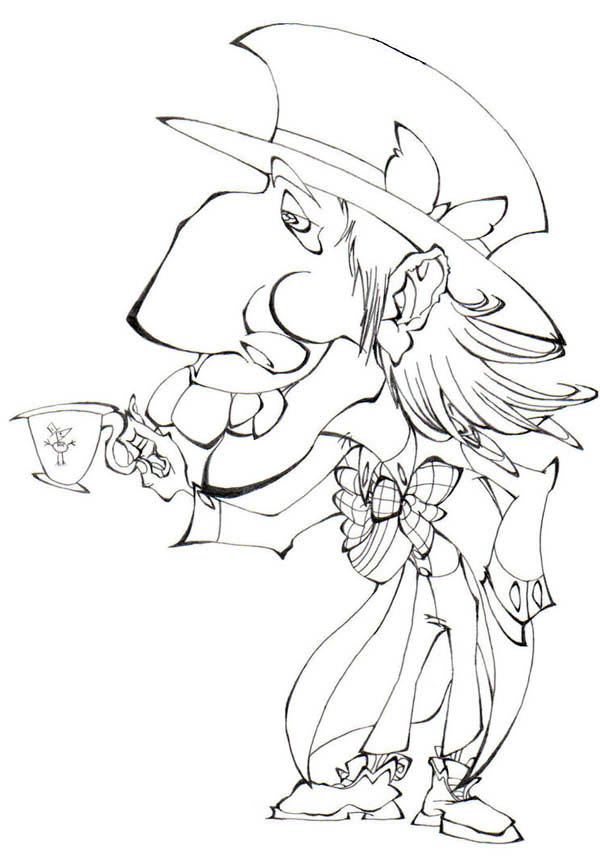 Mad Hatter, : Mad Hatter Caricature Coloring Page