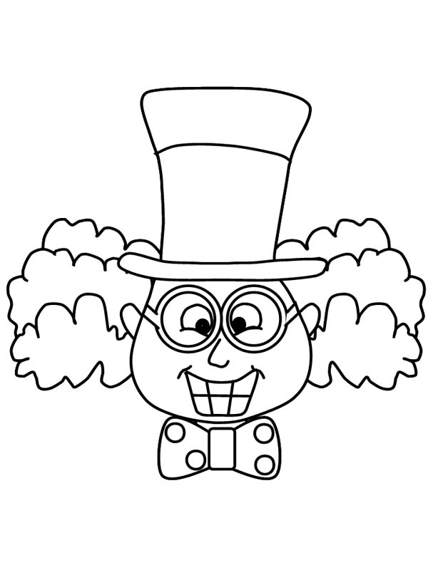 Mad Hatter, : Mad Hatter Grinning Coloring Page