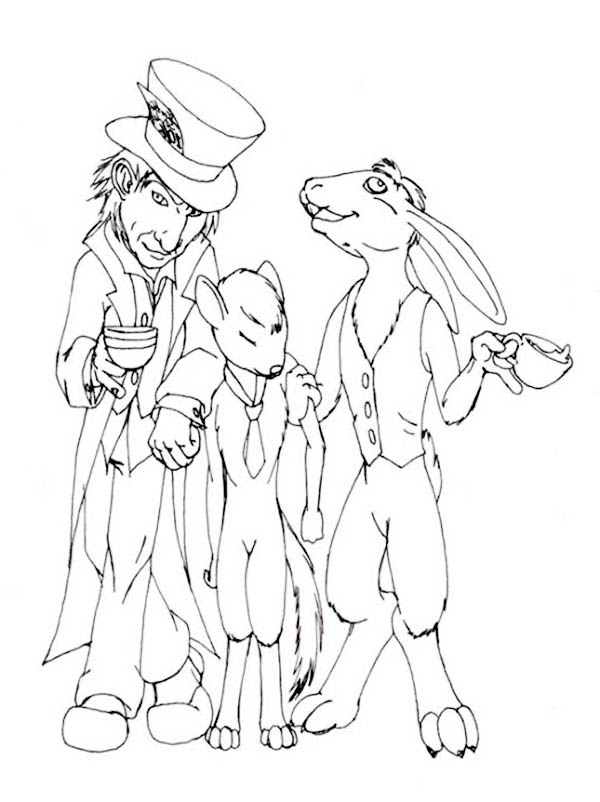 Mad Hatter, : Mad Hatter and Door Mouse Coloring Page