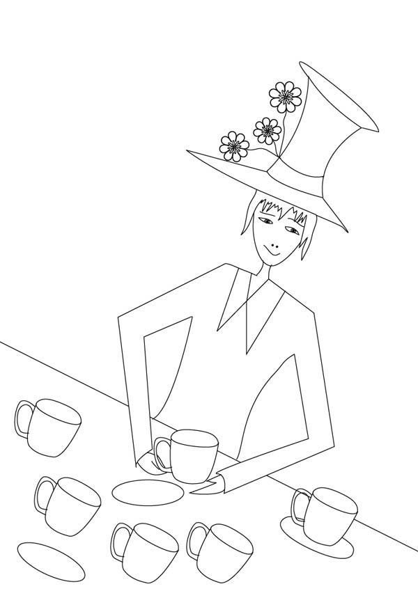 Mad Hatter, : Mad Hatter and Six Tea Cups Coloring Page