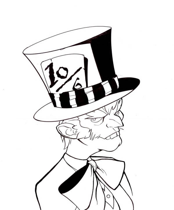 Mad Hatter with Bow Tie Coloring Page  Color Luna