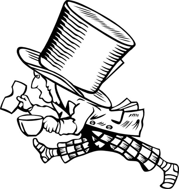 Mad Hatter, : Mad Hatter with Too Big Hat Coloring Page