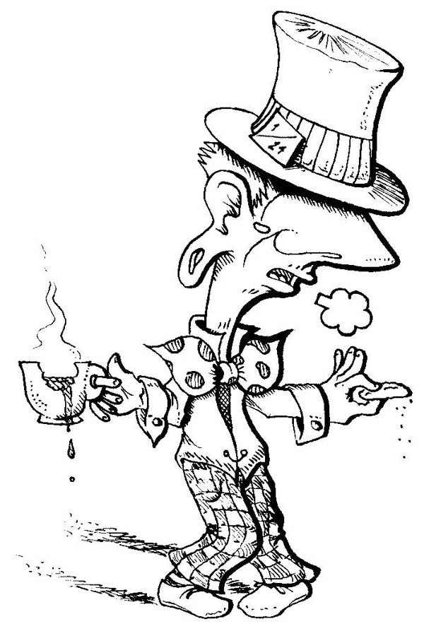 Mad Hatter, : Mad Hatter with a Cup of Tea and Biscuit Coloring Page