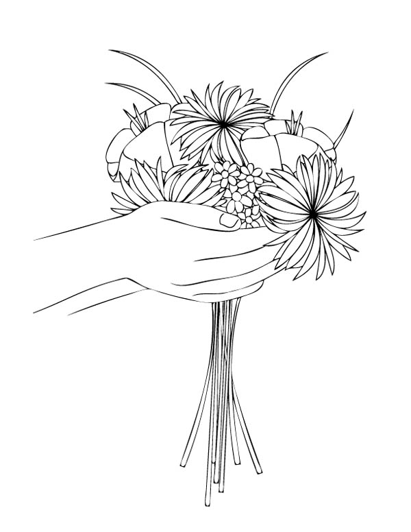 Flower Bouquet, : Make a Flower Bouquet Coloring Page