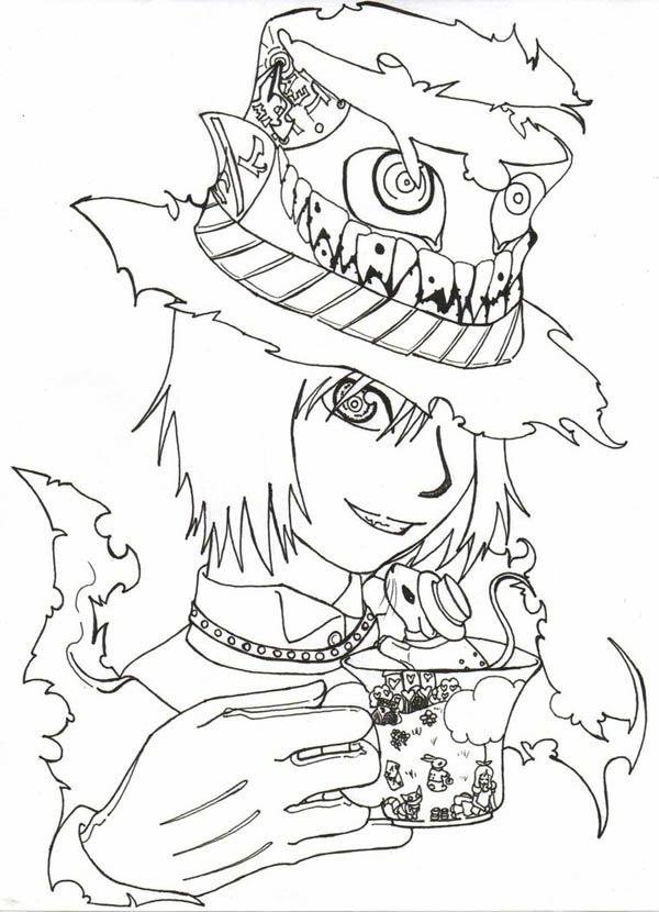 Manga Drawing Mad Hatter Coloring Page Color Luna