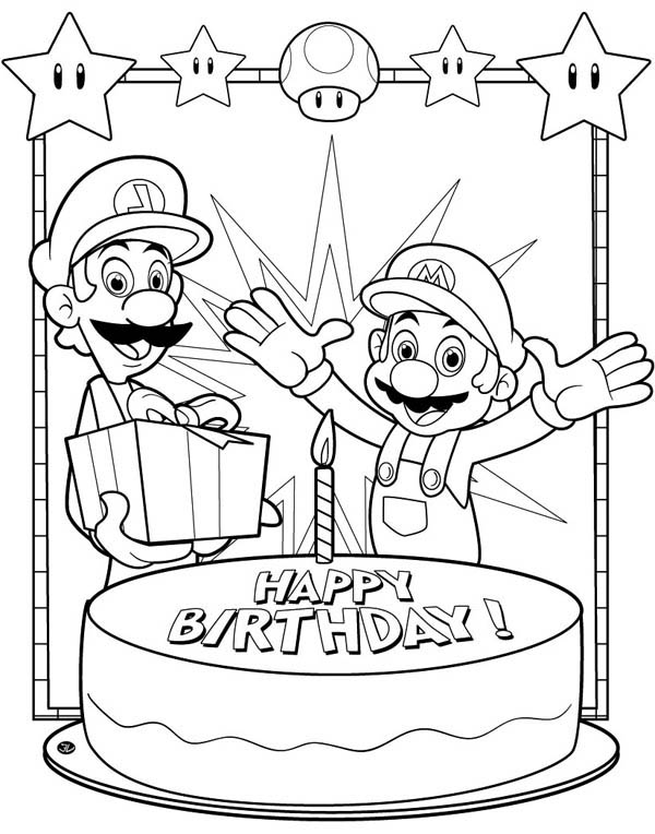 Colouring Pages H Y Birthday : Happy birthday cake with four candles coloring page: