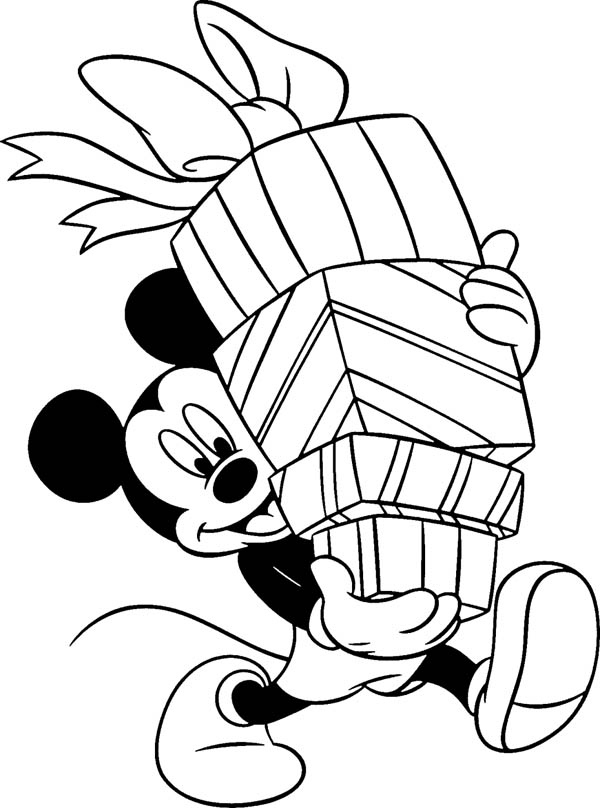 happy birthday mickey mouse and happy birthday presents coloring page