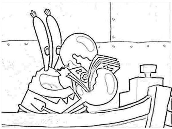 Krusty Krab, : Mr Krabs Count Money in Krusty Krab Coloring Page